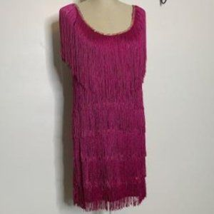 Fringed Pink Flapper Costume Dress Sz Small